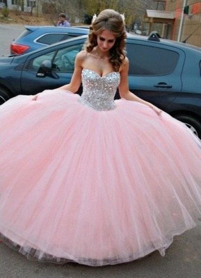 Elegant Sweetheart Sleeveless Tulle Wedding Dress Ball Gown With Beadss_1