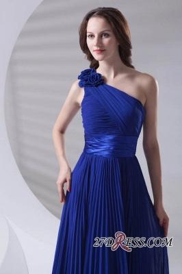 One-Shoulder Simple Chiffon Royal-Blue A-Line Bridesmaid Dress UKes UK_2