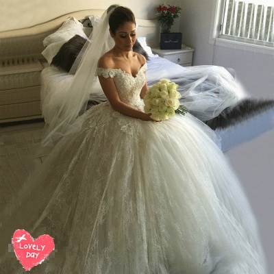 Gorgeous Off-the-Shoulder Ball Gown Wedding Dress Tulle Lace Appliques_4
