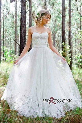 Beadss A-Line Simple Cheap Spaghetti-Straps Tulle Wedding Dress_4