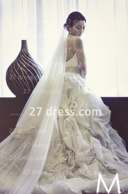 New Backless Sheer Cheap A-Line Wedding Dresses UK Bateau Beaded Appliques Ruffles Bridal Gowns With Court Train_5