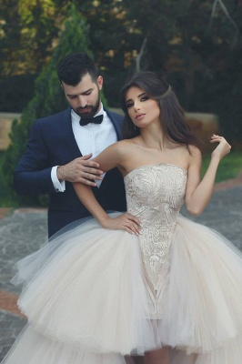 Elegant Strapless Wedding Dress Lace Layers Tulle Hi-Lo Bridal Gowns_3