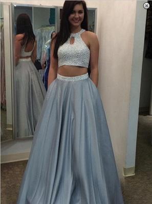 Gorgeous Beading Two Piece Prom Dress UK Halter Sleeveless A-line_1