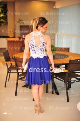 New Arrival Royal Blue Cocktail Gowns White Vestidos De Fiesta Sexy Lace Top_2