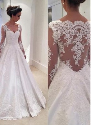 Sheer Cheap Long-Sleeves Lace Appliques Elegant A-line Wedding Dresses UK_1
