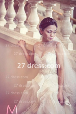 New Backless Sheer Cheap A-Line Wedding Dresses UK Bateau Beaded Appliques Ruffles Bridal Gowns With Court Train_2