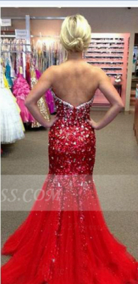 Sequins Red Mermaid Prom Dress UKes UK with Gowns Sweetheart Sleeveless Crystal Beading Zipper Sweep Train Evening_2