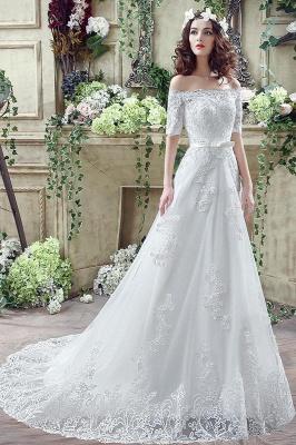Elegant Off-the-shoulder Lace Appliques Wedding Dress Bowknot Lace-up_7