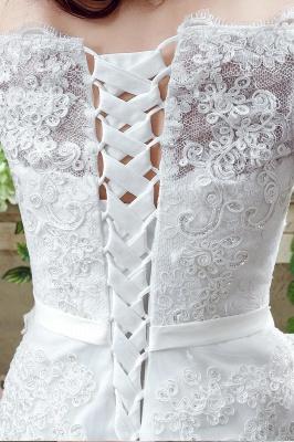 Elegant Off-the-shoulder Lace Appliques Wedding Dress Bowknot Lace-up_4