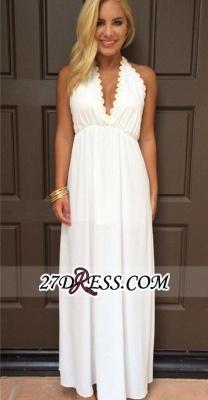 Backless White Maxi Attractive Halter V-Neck Summer Prom Dress UKes UK_3