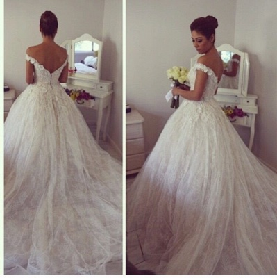 Gorgeous Off-the-Shoulder Ball Gown Wedding Dress Tulle Lace Appliques_3