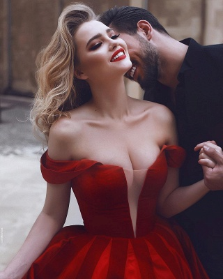 Gorgeous Off-the-Shoulder Evening Dress UK | Red Long Prom Dress UK_4