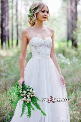 Beadss A-Line Simple Cheap Spaghetti-Straps Tulle Wedding Dress_3