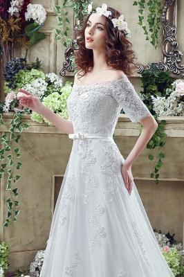 Elegant Off-the-shoulder Lace Appliques Wedding Dress Bowknot Lace-up_6