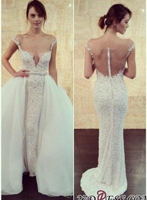Long Cap-Sleeve Beadss Elegant Tulle Detachable Pearls Wedding Dress_2