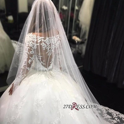 Long-Sleeves Scoop Neckline Crystal Glamorous Tulle Appliques Wedding Dress BA4480_2