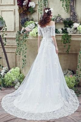 Elegant Off-the-shoulder Lace Appliques Wedding Dress Bowknot Lace-up_5