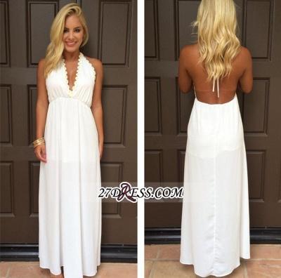 Backless White Maxi Attractive Halter V-Neck Summer Prom Dress UKes UK_1