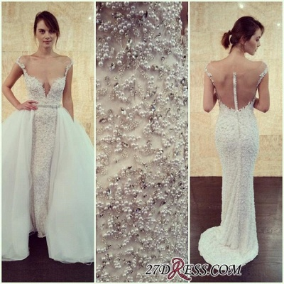 Long Cap-Sleeve Beadss Elegant Tulle Detachable Pearls Wedding Dress_1