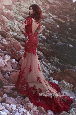 Beading Sheer Tulle Long-Sleeve Appliques Lace Mermaid Open-Back Amazing Prom Dress UK_1