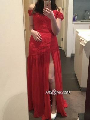 Elegant Red Off-the-Shoulder Long Prom Dress UK With Slit_1