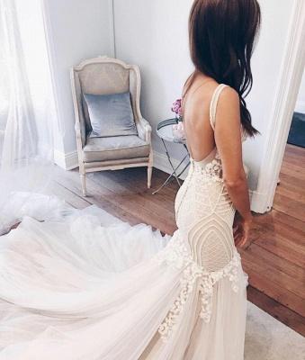 Delicate Lace Straps Sexy Mermaid Wedding Dress | Ivory Wedding Dress_3
