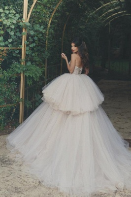 Elegant Strapless Wedding Dress Lace Layers Tulle Hi-Lo Bridal Gowns_1