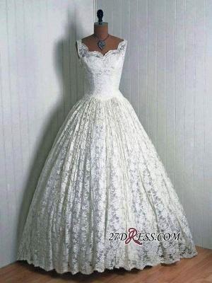 Floor-Length Sleeveless Lace Vantage Elegant Wedding Dresses UK_1