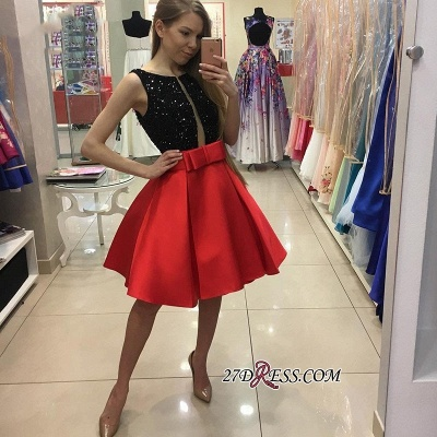 Sequined Bowknot A-Line Sexy Sleeveless Short Homecoming Dress UKes UK_3