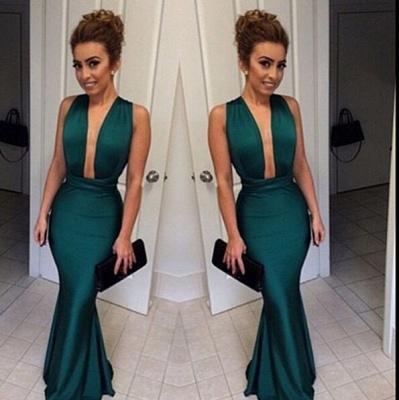 Elegant Deep V-Neck Sleeveless Long Prom Dress UK Floor Length_3