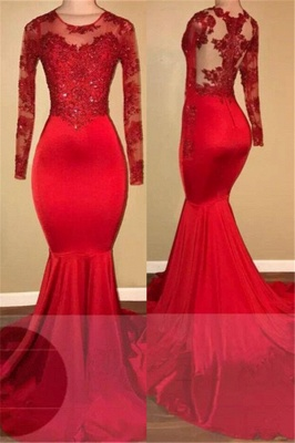 Red lace mermaid prom Dress UK, long sleeve evening gowns RM0_1