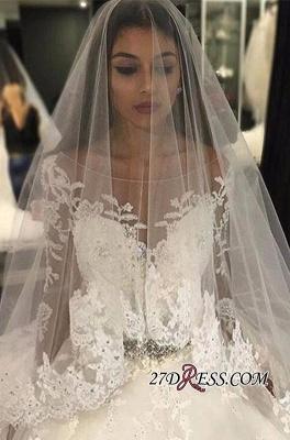 Long-Sleeves Scoop Neckline Crystal Glamorous Tulle Appliques Wedding Dress BA4480_4