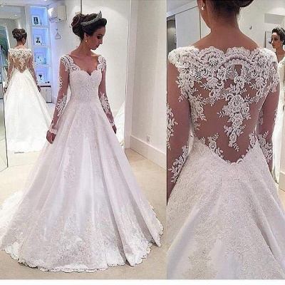 Sheer Cheap Long-Sleeves Lace Appliques Elegant A-line Wedding Dresses UK_3
