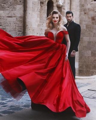 Gorgeous Off-the-Shoulder Evening Dress UK | Red Long Prom Dress UK_5