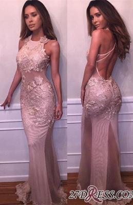 Halter Delicate Mermaid Lace-Appliques Sleeveless Prom Dress UK BA4359_2