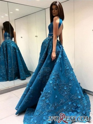 Blue Sleeveless Prom Dress UK | Princess Evening Gowns With Lace Appliques BA9500_3