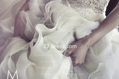 New Backless Sheer Cheap A-Line Wedding Dresses UK Bateau Beaded Appliques Ruffles Bridal Gowns With Court Train_4
