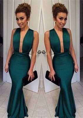Elegant Deep V-Neck Sleeveless Long Prom Dress UK Floor Length_1