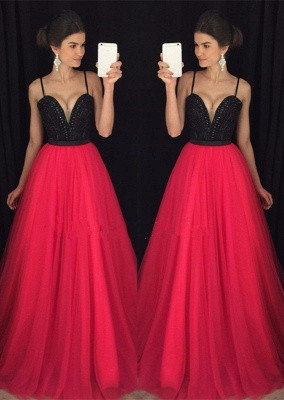 Luxury Spaghetti Straps Fuchsia Long Prom Dress UK AP_1