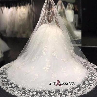 Long-Sleeves Scoop Neckline Crystal Glamorous Tulle Appliques Wedding Dress BA4480_1