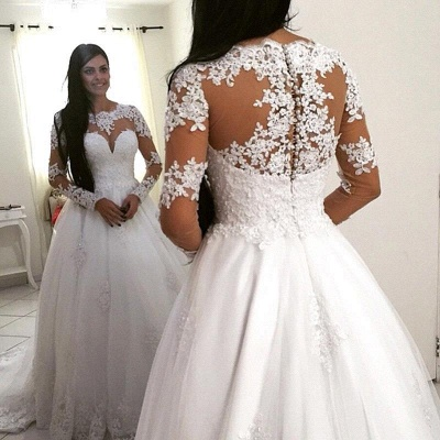Delicate Lace Appliques Long Sleeve Wedding Dress Zipper Button Back_3