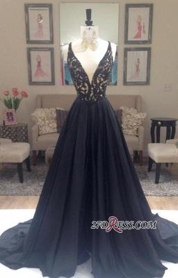Sleeveless Long Black V-Neck A-Line Applique Luxury Evening Dress UKes UK BA3680_1