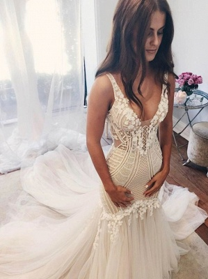 Delicate Lace Straps Sexy Mermaid Wedding Dress | Ivory Wedding Dress_1