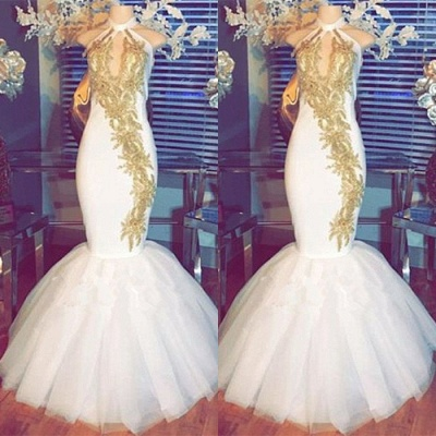 White Mermaid Prom Dress UK | Halter Evening Gowns With Gold Appliques BA8790_3