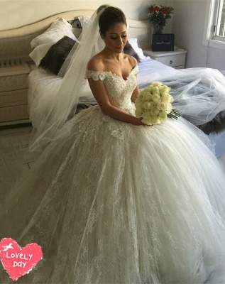 Gorgeous Off-the-Shoulder Ball Gown Wedding Dress Tulle Lace Appliques_1