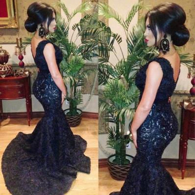 Fashion V-neck Black Beaded Lace Mermaid Prom Dress UKes UK Sweep Train Backless Evening Gowns_2