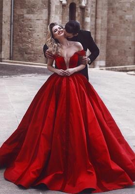 Gorgeous Off-the-Shoulder Evening Dress UK   Red Long Prom Dress UK_1