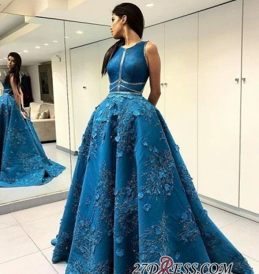 Blue Sleeveless Prom Dress UK | Princess Evening Gowns With Lace Appliques BA9500_2