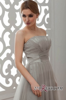 Strapless Floral Sexy A-Line Tulle Bridesmaid Dress UKes UK_1