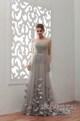 Strapless Floral Sexy A-Line Tulle Bridesmaid Dress UKes UK_6